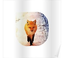 Red Fox Low Poly Poster