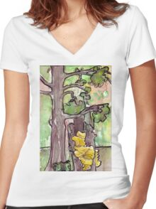 Trees with Yellow Fungus Women's Fitted V-Neck T-Shirt