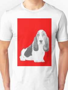 Bassett Hound Puppy in Red T-Shirt