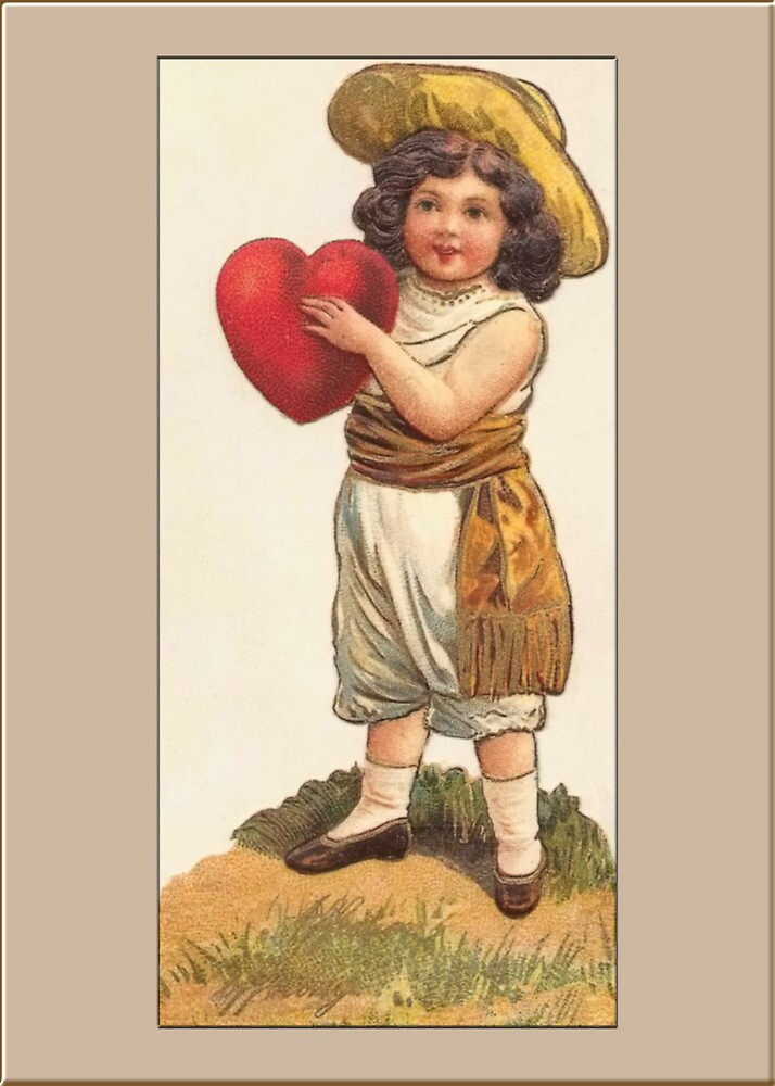 Valentine Card-Boy with Heart by Yesteryears