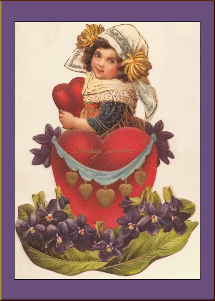 Valentine Card-Girl with Violets by Yesteryears