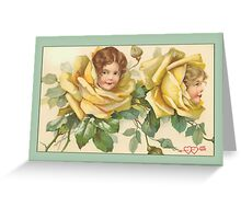 Valentine Card-Girls in Yellow Roses Greeting Card
