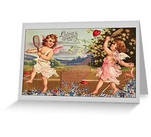 Valentine Card-Cupids Playing Tennis Greeting Card