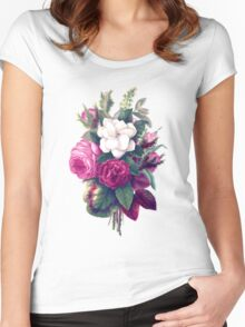 Roses, Flowers, Blooms, Leaves - Pink Green White Women's Fitted Scoop T-Shirt