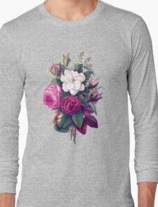 Roses, Flowers, Blooms, Leaves - Pink Green White Long Sleeve T-Shirt