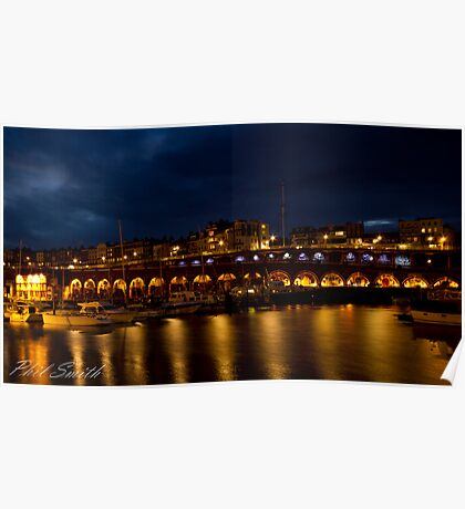 Ramsgate Harbour at night Poster