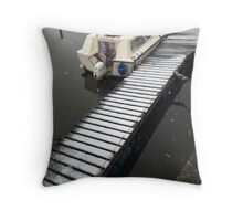 Snowy jetty Throw Pillow