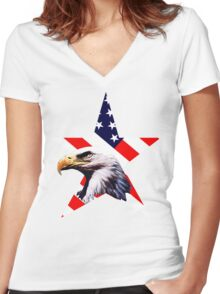 american star the Bald eagle Women's Fitted V-Neck T-Shirt