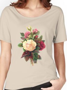 Roses, Flowers, Blooms, Leaves - Red Green White Women's Relaxed Fit T-Shirt