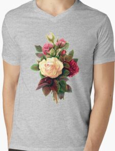 Roses, Flowers, Blooms, Leaves - Red Green White Mens V-Neck T-Shirt