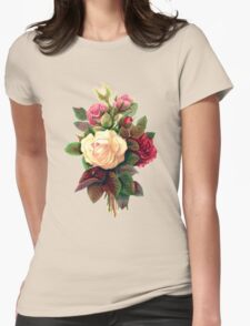 Roses, Flowers, Blooms, Leaves - Red Green White Womens Fitted T-Shirt