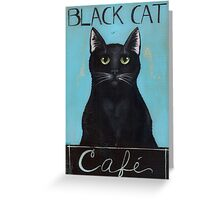 Black Cat Cafe Sign Greeting Card