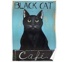 Black Cat Cafe Sign Poster