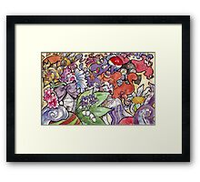 Colorful Watercolor and Ink Sketch Random Thoughts Framed Print