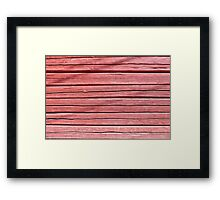 Old red plank wall Framed Print