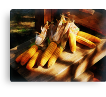 Vegetable - Corn on the Cob at Outdoor Market Canvas Print