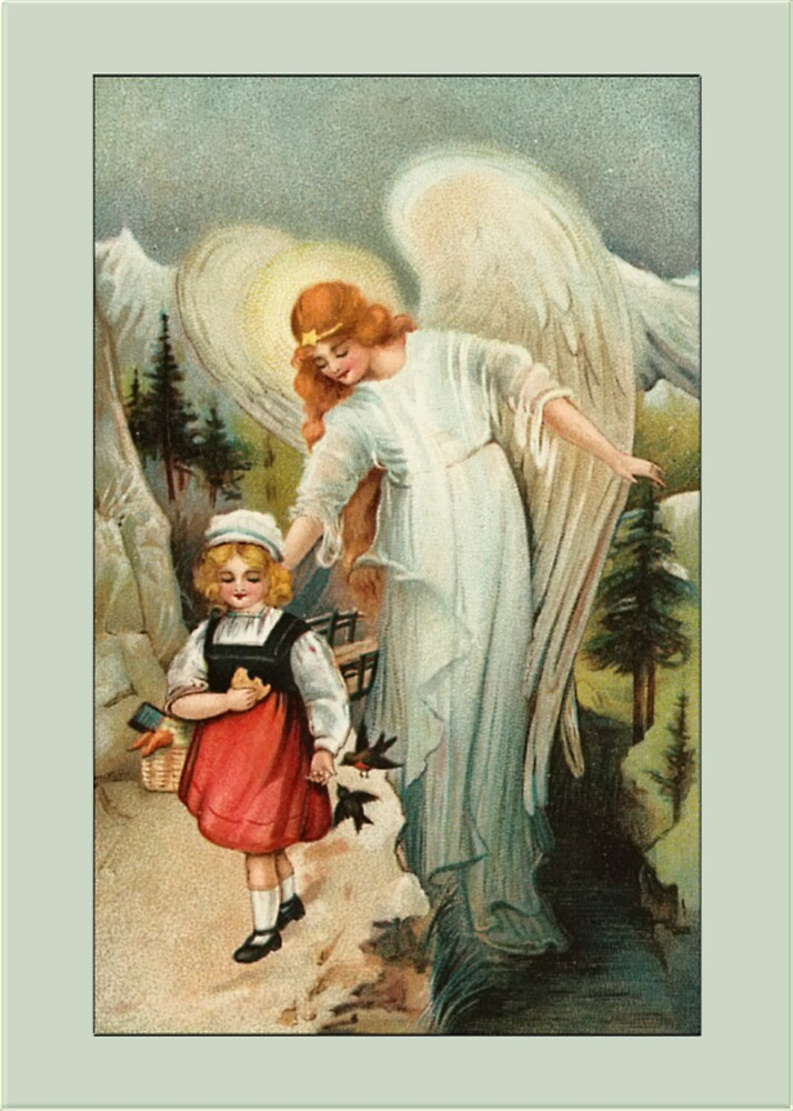 Vintage Angel Card-Angel with Child by Yesteryears