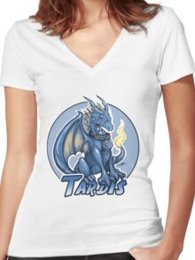 Police Box Dragon (TARDIS) Women's Fitted V-Neck T-Shirt