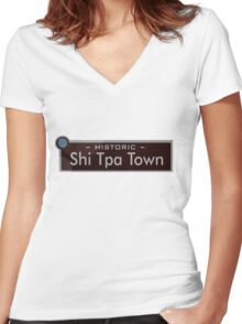 Historic Shi Tpa Town (South Park) Women's Fitted V-Neck T-Shirt