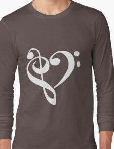 Music Clef Heart Girls funny nerd geek geeky Long Sleeve T-Shirt