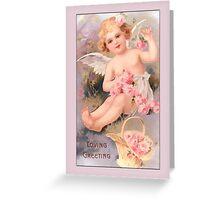 Vintage Angel Card-Angel with Roses Greeting Card