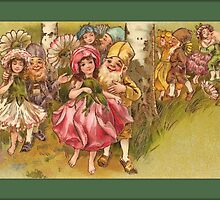 Vintage Elf Card-Elves with Flower Girls by Yesteryears