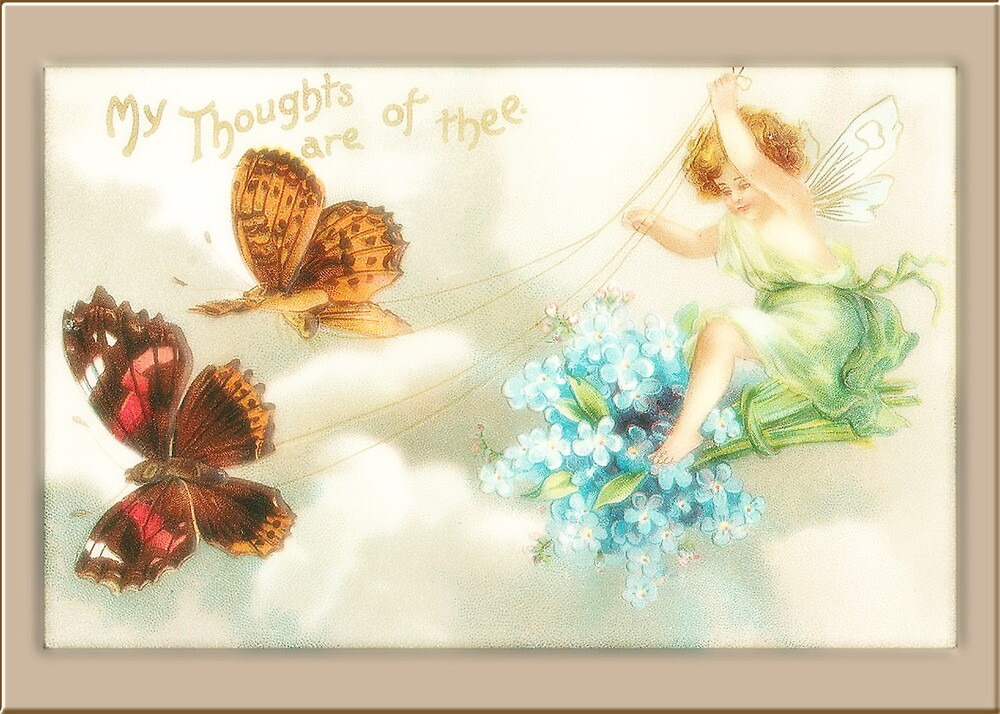 Vintage Fairy Card-Fairy with Butterflies by Yesteryears