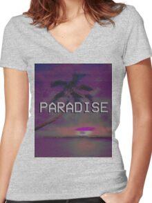 Paradise (AESTHETIC) Women's Fitted V-Neck T-Shirt