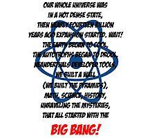 The Big Bang Theory Theme song - Black version Photographic Print
