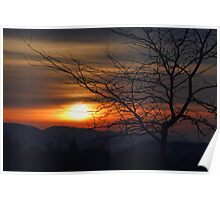 Winter Sunset Silhouette Poster