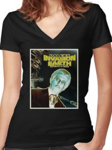 Daleks Invasion Earth Women's Fitted V-Neck T-Shirt