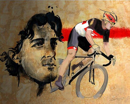 Cycling Illustration Fabian Cancellara print by SFDesignstudio