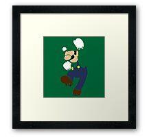 Pixelation Silhouette: Luigi Framed Print