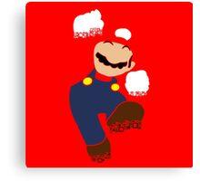 Mario Pixel Silhouette Canvas Print