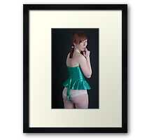Cynelle in white panties Framed Print