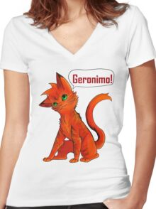 Blazing-Geronimo! Women's Fitted V-Neck T-Shirt