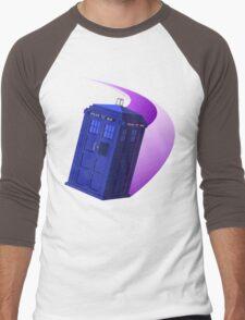 The TARDIS, Anywhere, Anytime TRAVEL POSTER Men's Baseball ¾ T-Shirt