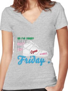 im sorry , but is friday Women's Fitted V-Neck T-Shirt