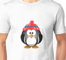 Adorable Penguin Wearing a Knitted Hat Unisex T-Shirt