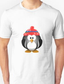 Adorable Penguin Wearing a Knitted Hat T-Shirt