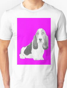Bassett Hound Puppy in Pink T-Shirt