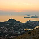 Golden Sunset over Dubrovnik and Dalmatian Coast by kirilart