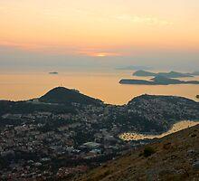 Golden Sunset over Dubrovnik and Dalmatian Coast by kirilart