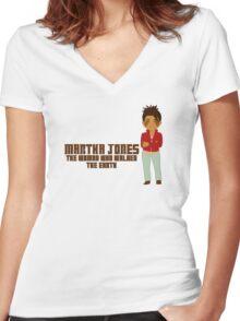 Martha Jones Women's Fitted V-Neck T-Shirt