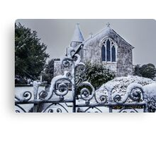 Snowy Church Scene Canvas Print