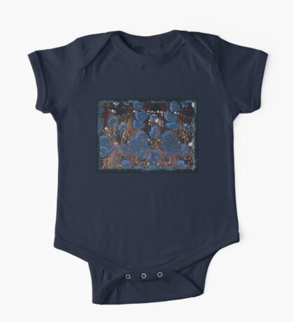 marbled paper - blue mushroom 2 layer One Piece - Short Sleeve