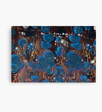 marbled paper - blue mushroom 2 layer Canvas Print