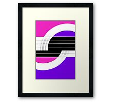 Geometric Guitar Abstract II in Pink Purple Black White Framed Print