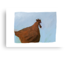Painting of a rusty red chicken on blue Canvas Print