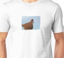 Painting of a rusty red chicken on blue Unisex T-Shirt